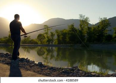 Fisherman at the lake