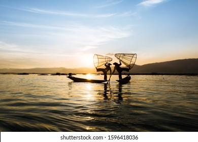 Fisherman at Lake Inle Myanmar Burma Sunset