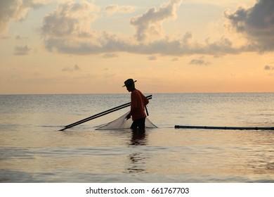 fisherman in the morning