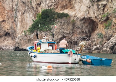 Fisherman on the boat in the Sorrento coast