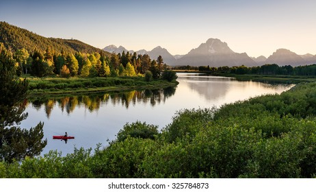 Fisherman on Snake River, Grand Teton National Park