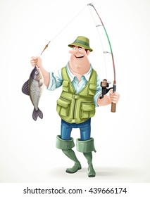 Fisherman in rubber boots with a caught fish and a fishing rod isolated on white background. Raster