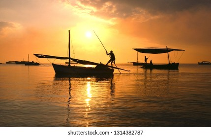 The Fisherman Sailing for fish in the middle of the sea in the morning at Mozambique.