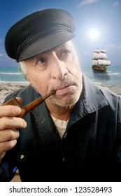 fisherman smoking pipe over ship in background