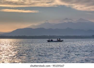 Fisherman starts working in the morning, Lombock in Bali