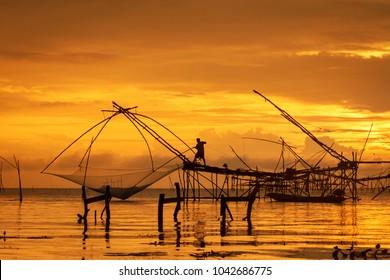 Fisherman using huge fishing equipment called 'Yor' in Phatthalung, southern Thailand
