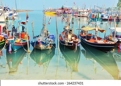 Fisherman village at Koh Samui, Thailand. Many fishing boats moored