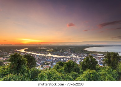 Fisherman Village. Pak Nam Chumphon. View from Khao (Hill) Matsee Viewpoint in Chumphon province, Thailand at sunset time