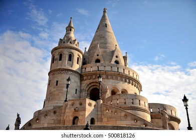 Fisherman's bastion architectural features at sunrise, Budapest city
