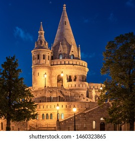 Fisherman's Bastion in Budapest, Hungary in dusk