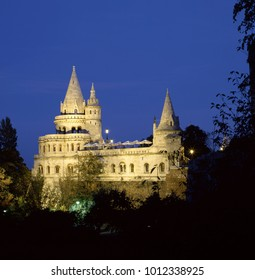 Fishermans bastion Budapest in Hungary at night