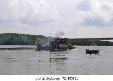 Fisherman's boat in a river