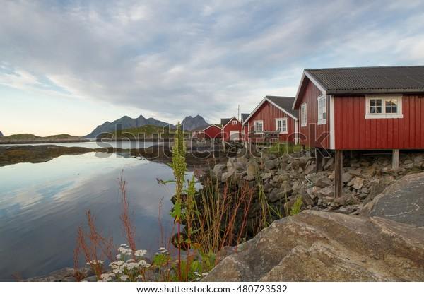 Phenomenal Fishermans Cottages Lofoten Norway Stock Photo Edit Now Interior Design Ideas Truasarkarijobsexamcom
