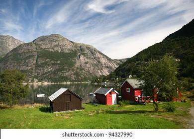 Fisherman's house on norwegian fjord, Eidfjord