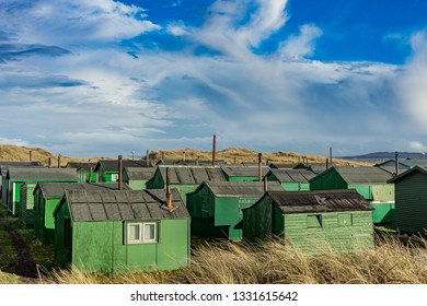 Fisherman's huts at the South Gare. Located on the north east coast of England.