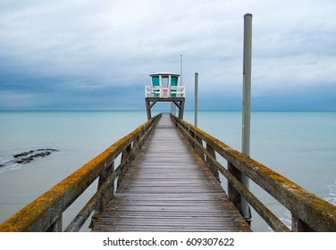 Fisherman's jetty in Luc-sur-mer, Normandy France
