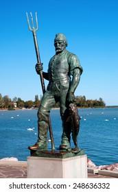 Fisherman's sculpture in Balatonfured at Lake Balaton, Hungary