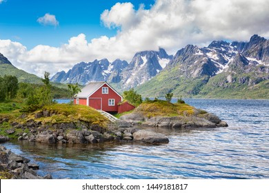Fishermans shack in Digermulen, Lofoten Islands, Norway.
