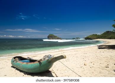 Fishermans ship at Watu Karung beach, Pacitan, Java, Indonesia