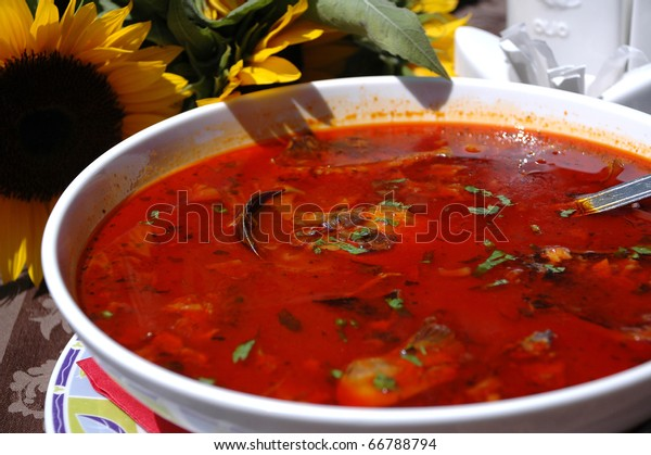Fisherman's Soup -  hot and spicy paprika based river fish soup.