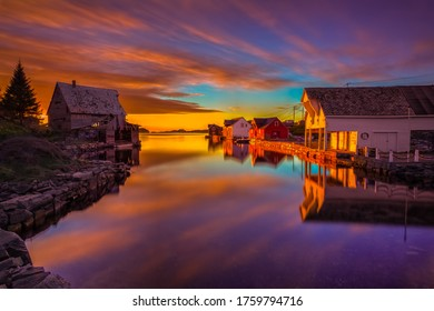 Fishermans village at sunset,from Tofterøy,Norway.