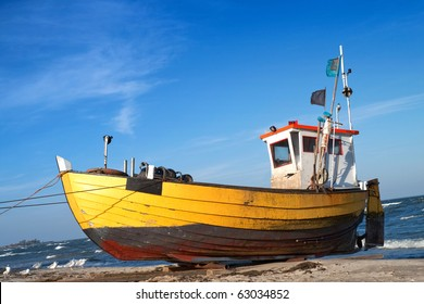 Fishermen boat in the coast of Baltic