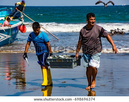 Fishermen Carry Bins Fish Buyers Chased Stock Photo (Edit Now