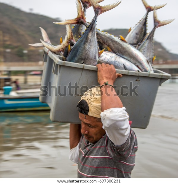 Fishermen Carry Bins Fish Buyers Chased Stock Photo (Edit Now) 697300231
