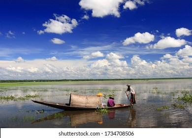 Fishermen Fishing on the Tanguar Haor also called Tangua Haor using Boats. It is a Unique Wetland Ecosystem. 17th August, Sunamganj, Bangladesh 2017.