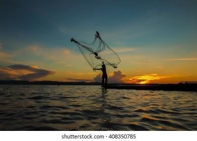 Fishermen fishing in the river.
