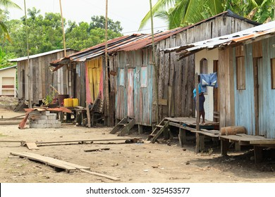 Fishermen Homes On The Island Of Santa Rosa In Esmeralda Province In Santa Rosa On September 08