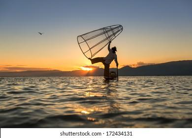 Fishermen at Inle Lake, Shan State, Myanmar