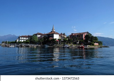 FISHERMEN ISLAND, ITALY - JUNE 25, 2018: Isola Superiore dei Pescatori - the Fishermen Island, one of the famous Borromeo Islands of Lake Maggiore, Italy
