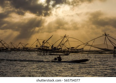 Fishermen Life bamboo fishing net, Phatthalung, Thailand.