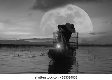 Fishermen monochrome image.