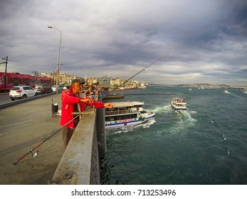 fishermen on Galata bridge Istanbul/Turkey October 12,2015