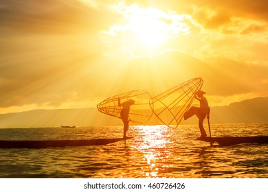 Fishermen on Inle Lake in Myanmar.