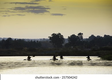 Fishermen in papyrus canoes on Lake Tana, Bahir Dar