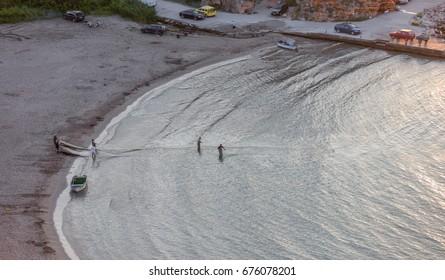 Fishermen pull the net out with a catch. Gulf near Tyulenevo, Bulgaria