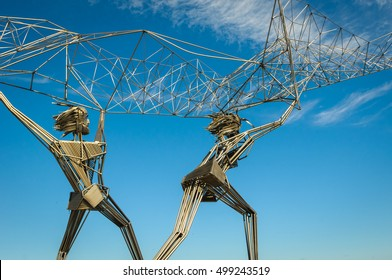 Fishermen sculpture on Onega lake embankment, Petrozavodsk, Russia