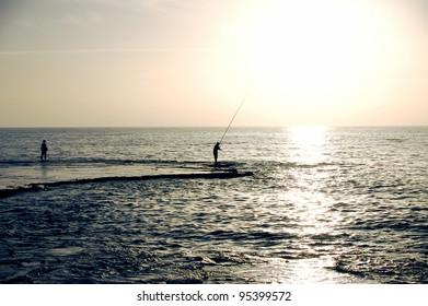 fishermen  silhouette
