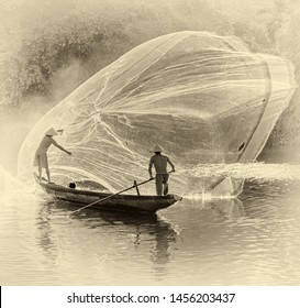 Fishermen throw a fishing nets. Morning view. Hue city, Northern Vietnam (stylized retro)