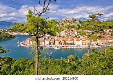 Fishermen town of Novigrad Dalmatinski colorful view, Croatia