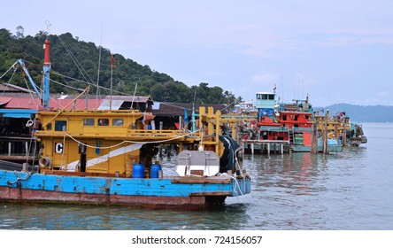 fishermen village view from the sea located in Pangkor Island, Malaysia