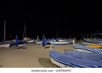 fishermen's boats at night in Laigueglia