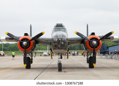 Fishers, Indiana, USA - June 6, 2015: Fishers Airshow, B-25 Mitchell On the tarmac during the airshow