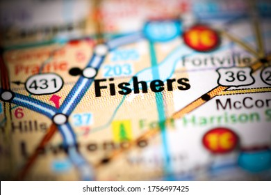 Fishers. Indiana. USA on a geography map