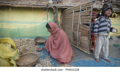 A Fisherwomen check the Dry Fish  at Gangasagar Island, some 150 kms south of Kolkata on Monday, 15 January 2018.