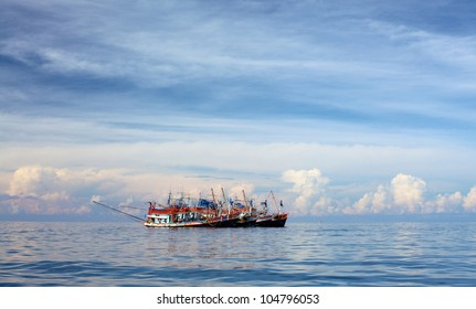 fishery trawlers group in Andaman Sea, Thailand