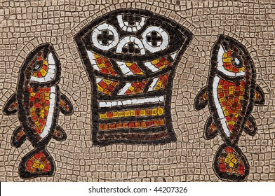 fishes and loaves mosaic of Tabgha